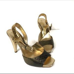 Boutique 9 Gold Reptile Sandals Sz 10